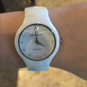 PEUGEOT CRAMIC WHITE WATCH! NEVER USED!